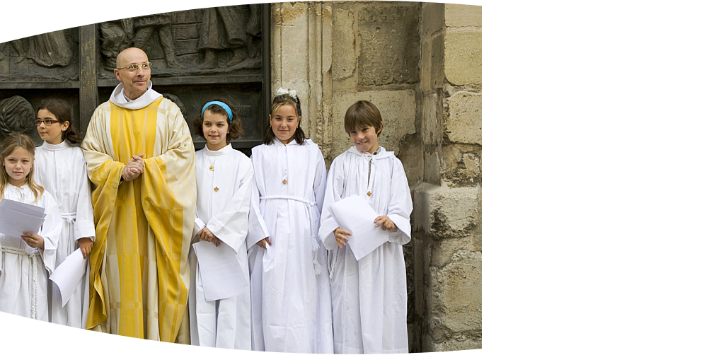 a priest and the members of church